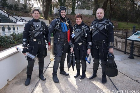 Our cave diving team...Ben Martines (left), Kelly Jessop (middle left) the Steins (middle right and right).  Without cave divers, we simply wouldn't have a study.  I can't thank them enough.