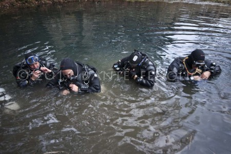 Our cave divers prepare to make a dive in a blue hole.