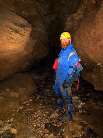 Señor Slay liked the upper reaches of the cave stream where we worked today. Clean flowing water with lots of stygobitic invertebrates.